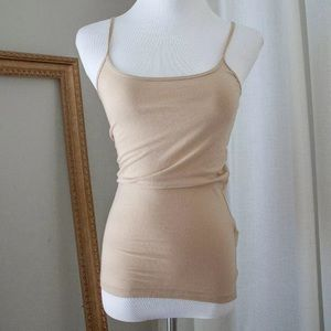 Women's NEW Beige Tan Nude Fitted Tank Top, SML